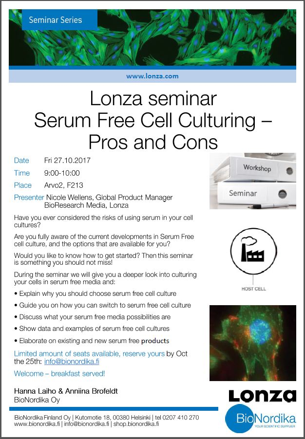Serum Free Cell Culture Seminar Tampere